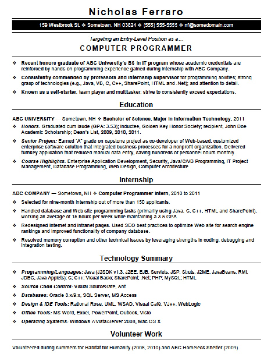 Computer Programming Resume Free Entry Level Computer Programming Resume Template  Sample .