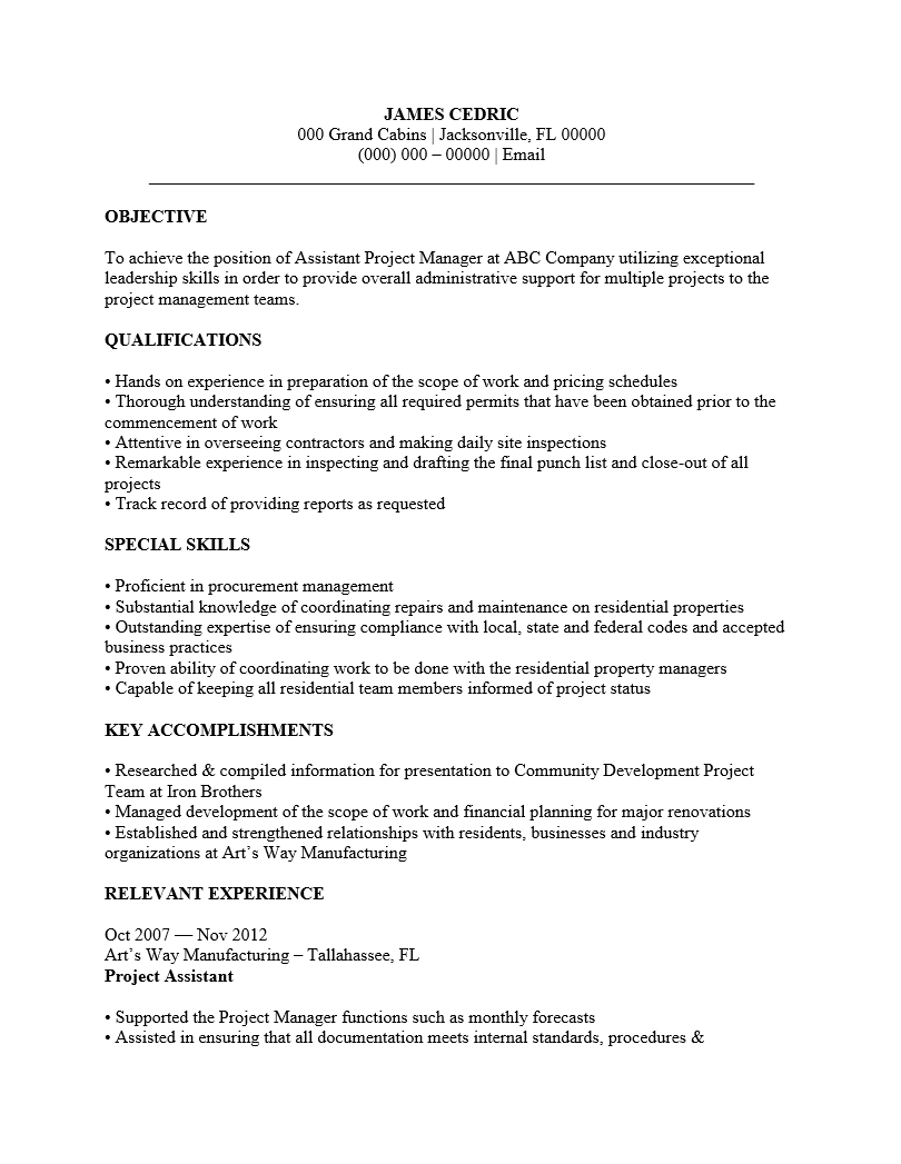 project manager resume template examples ms word assistant project manager resume template