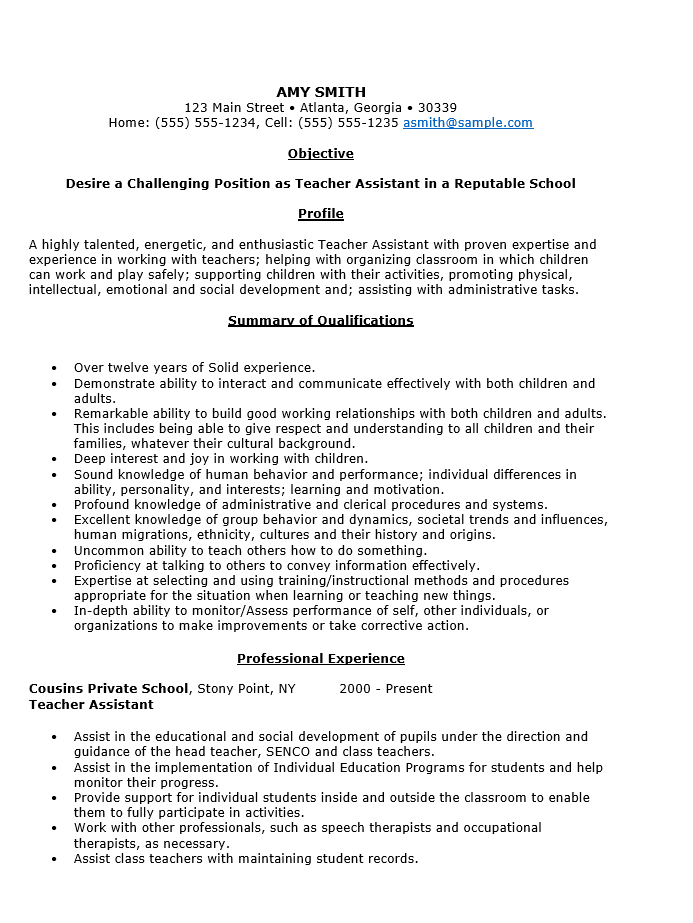 Sample resume for a teaching assistant