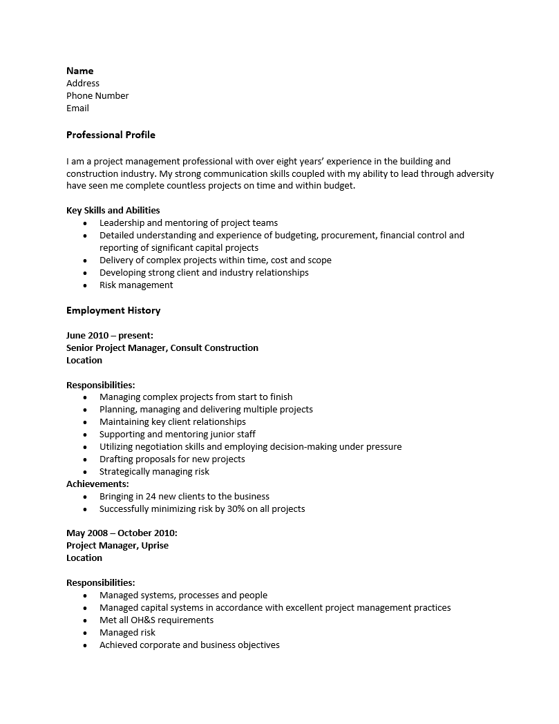 Free Construction Project Manager Resume Template | Sample | MS Word