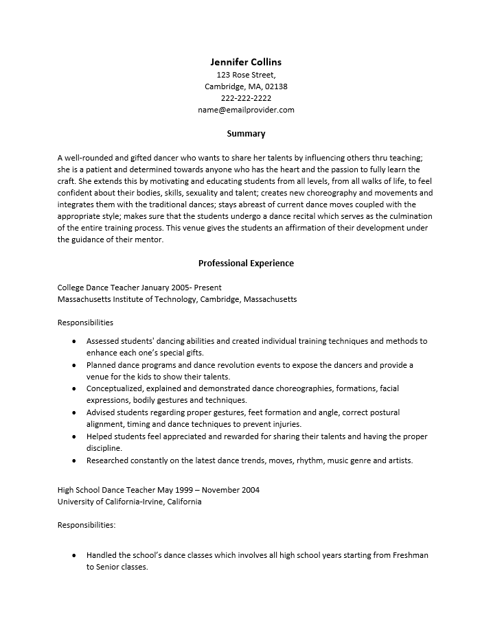 free dance teacher resume template sample ms word