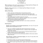 Engineering Project Manager Resume Template