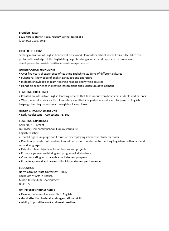 free english teacher resume template sample ms word