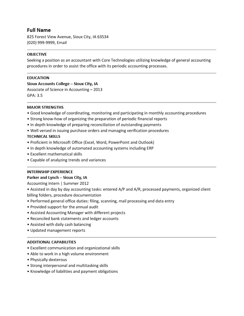 Free Entry Level Accounting Resume Template | Sample | MS Word