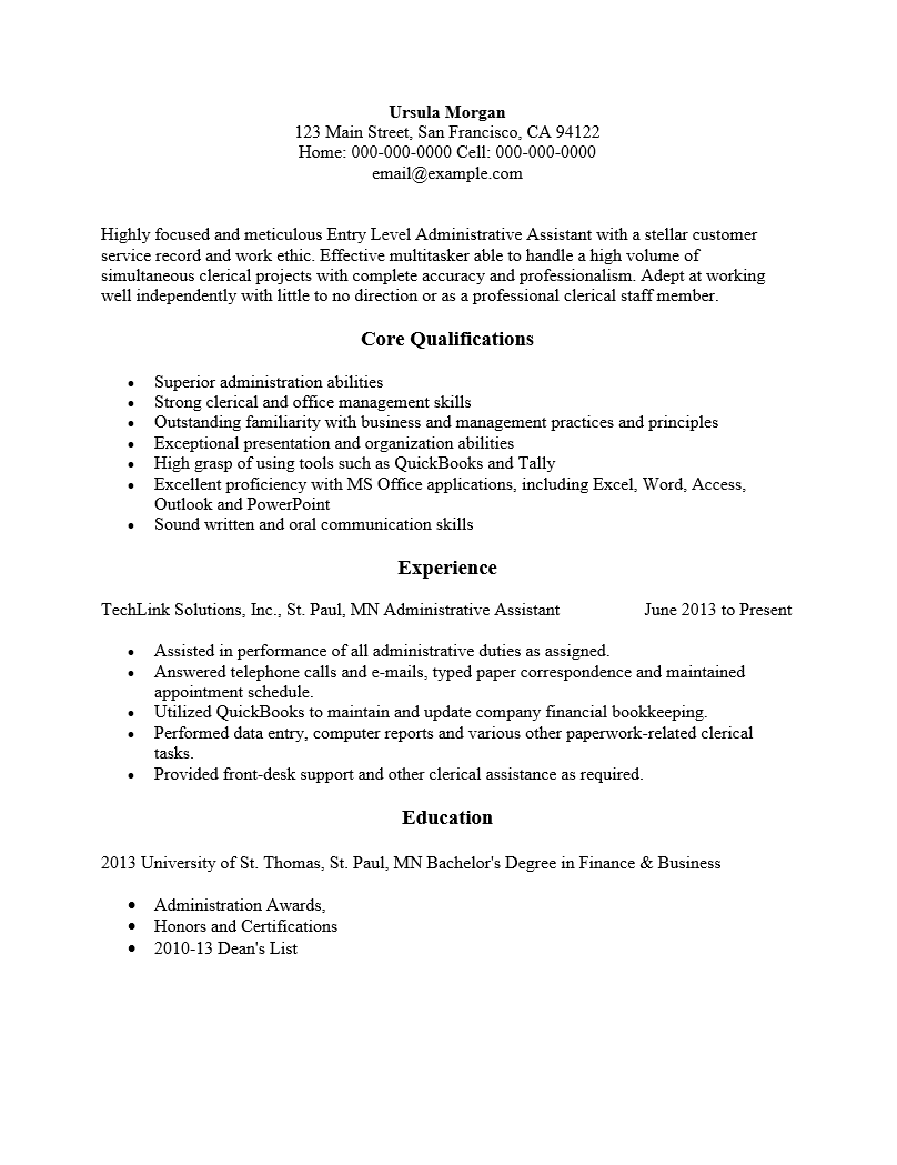 Free Entry Level Administrative Assistant Resume Template  Sample