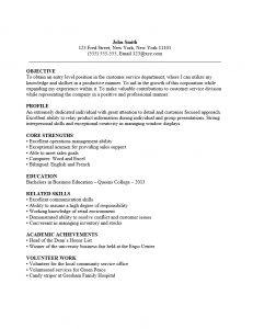Entry Level Cust Srv Resume Sample