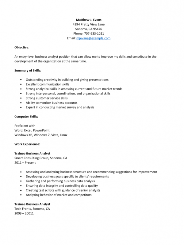 entry level business analyst level resume template