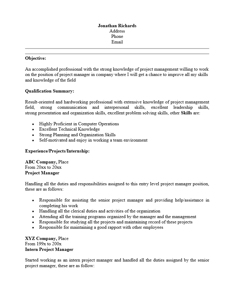 free entry level project manager resume template sample ms word