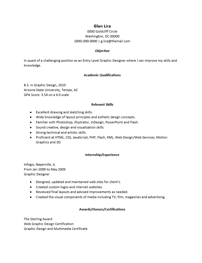 adobe pdf pdf ms word doc rich text - Graphic Designer Resume Format