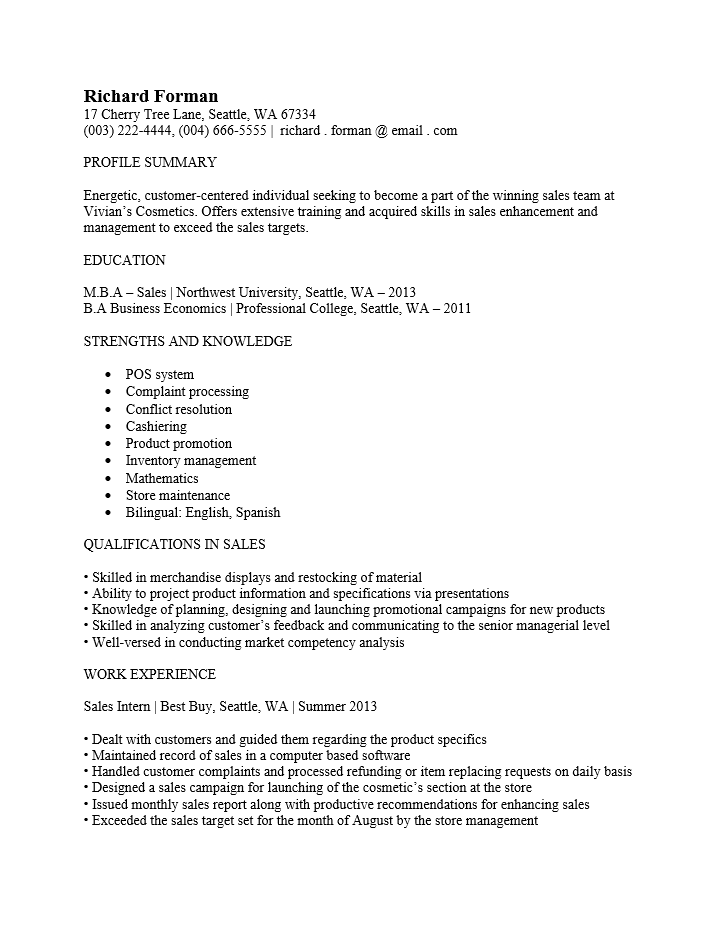 Free Entry Level Sales Associate Resume Template Sample Ms Word