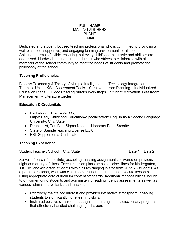 Free Experienced Teacher Resume Template | Sample | Ms Word