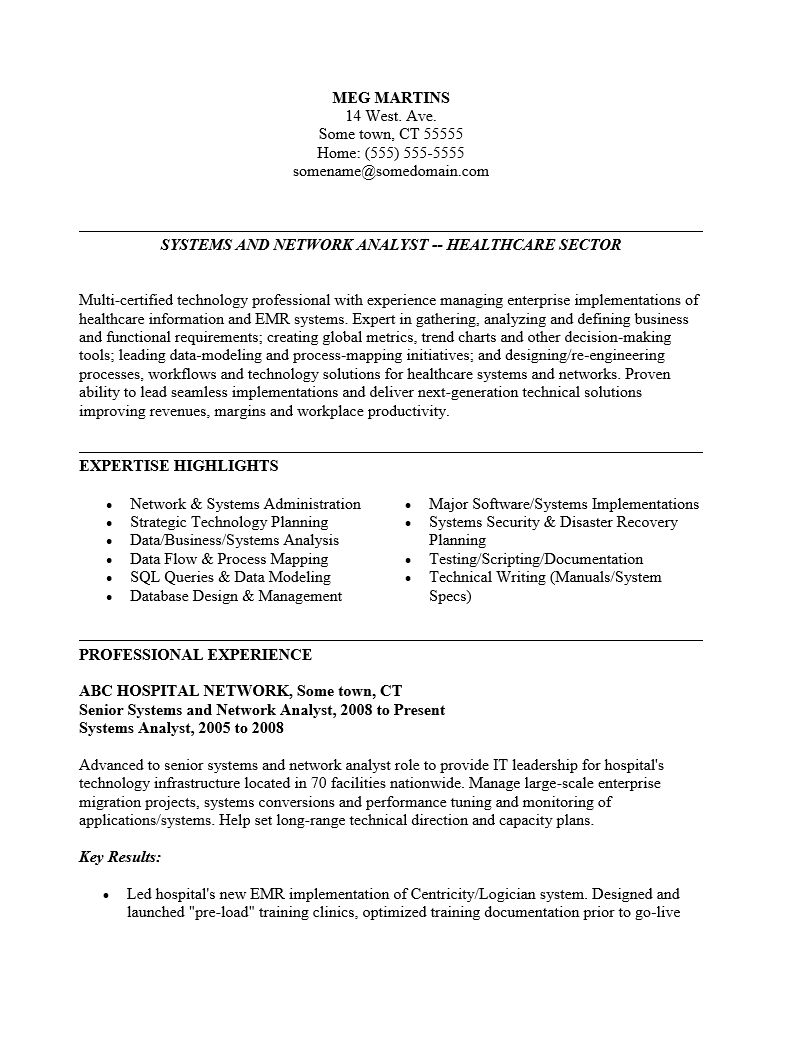Healthcare management functional resume sample