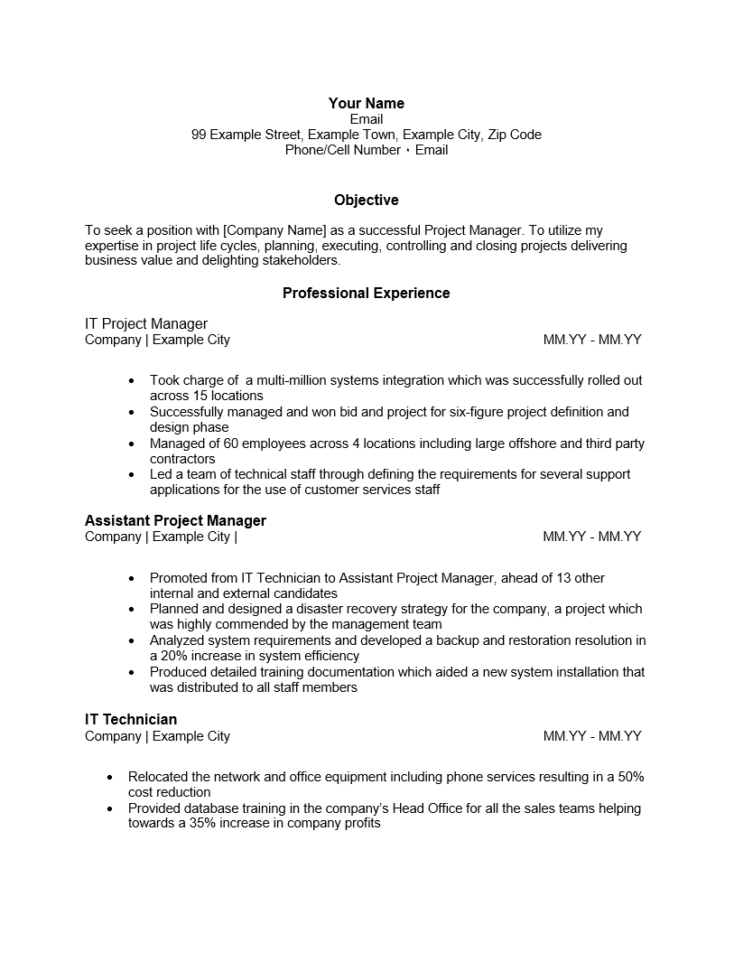 Project Manager Resume Template Word. resume template for project ...