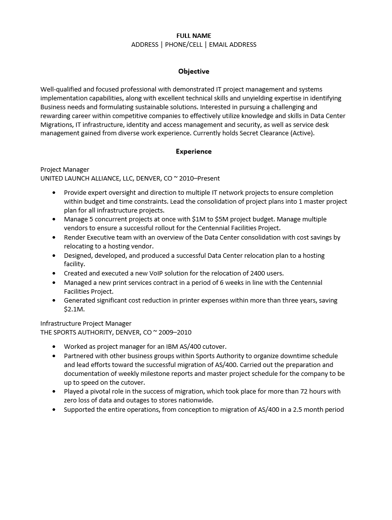 free infrastructure project manager resume template