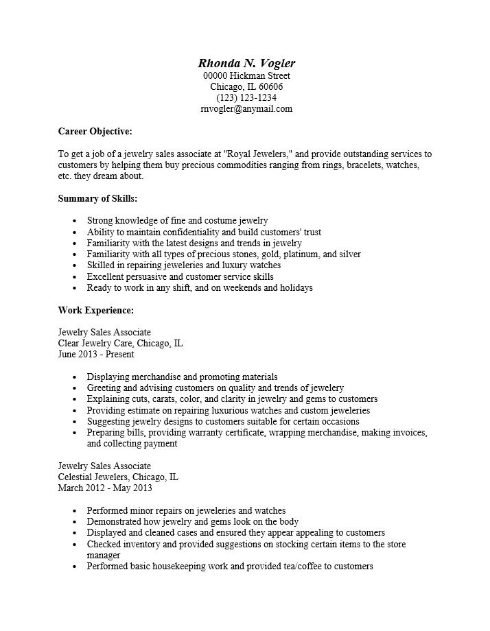 Jewelry sales resume examples