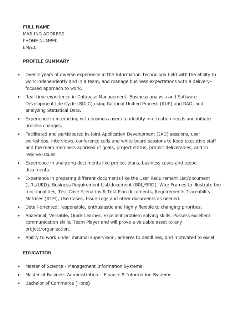 Junior analyst resume