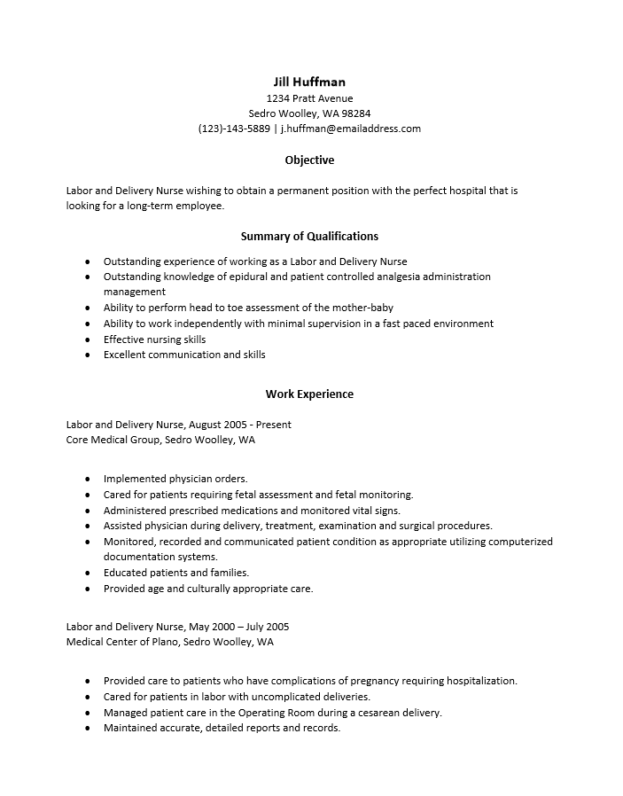 Labor And Delivery Nurse Resume Template Resume Templates