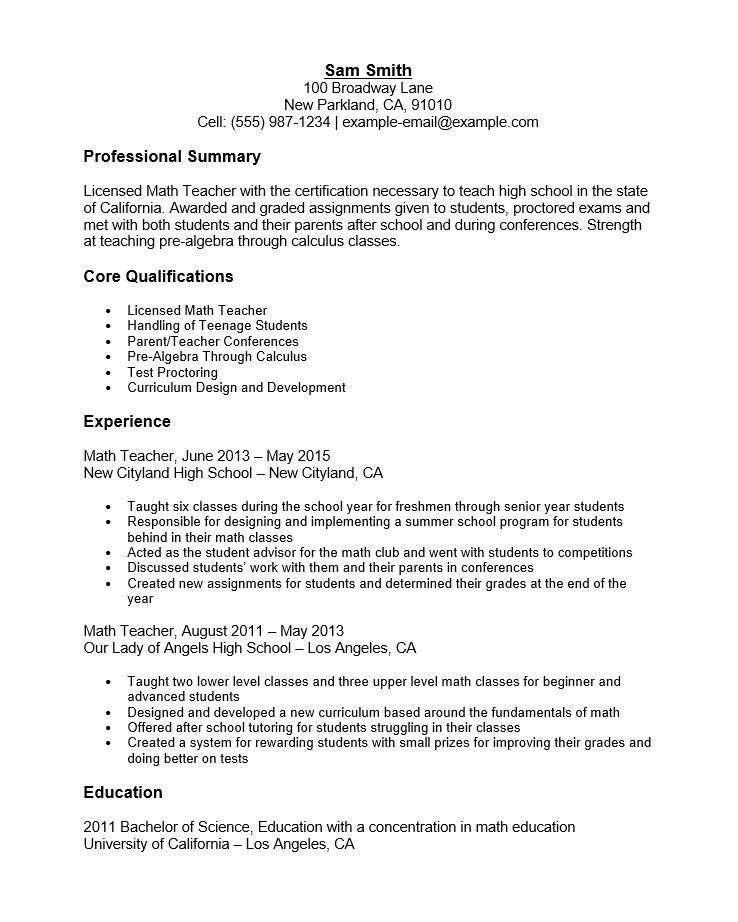 Free Math Teacher Resume Template Sample MS Word