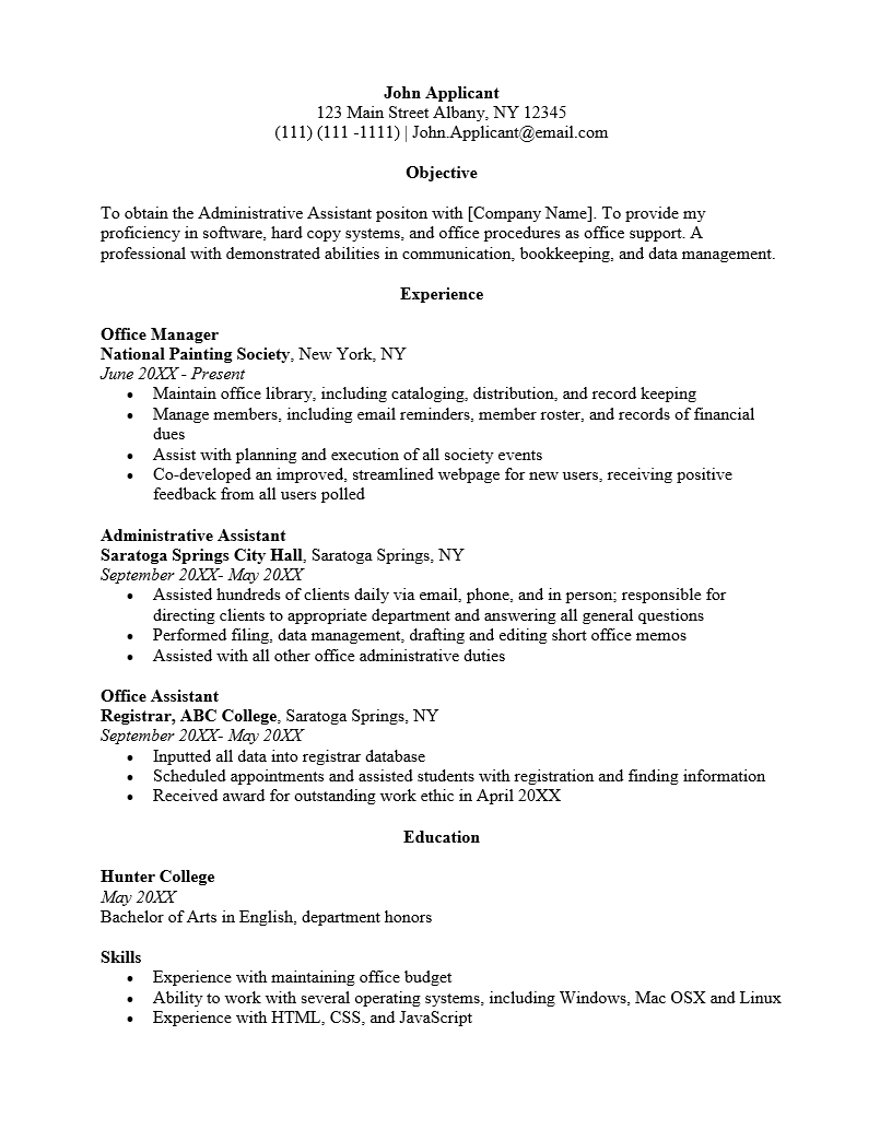 Free Office Administrative Assistant Resume Template Sample Ms