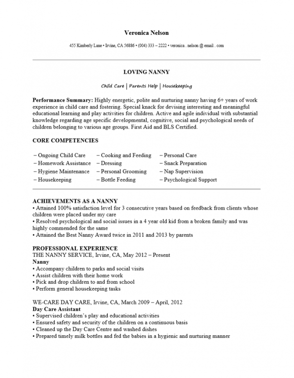 Adobe PDF (.pdf) | MS Word (.doc) | Rich Text  Nanny Resume Template