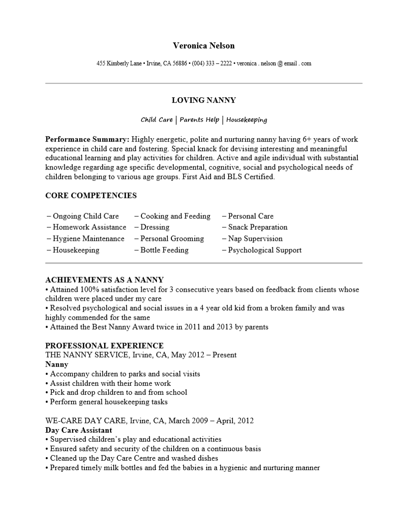 Free Professional Nanny Resume Template Sample Ms Word