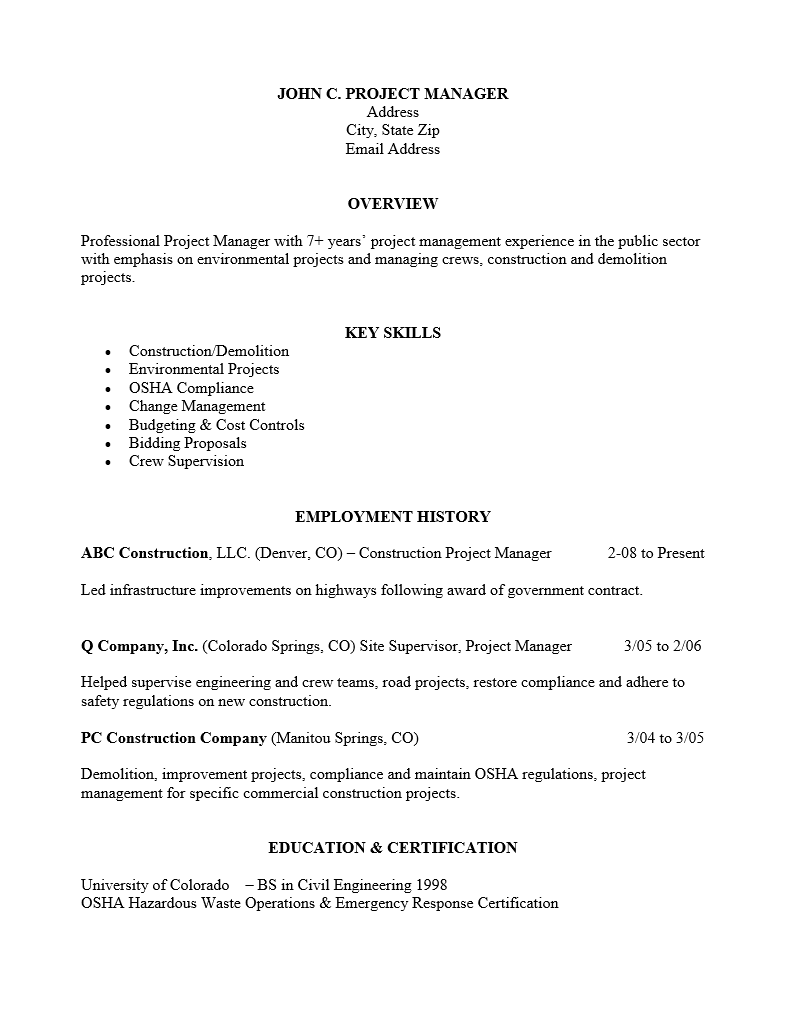 free professional level project manager resume template sample