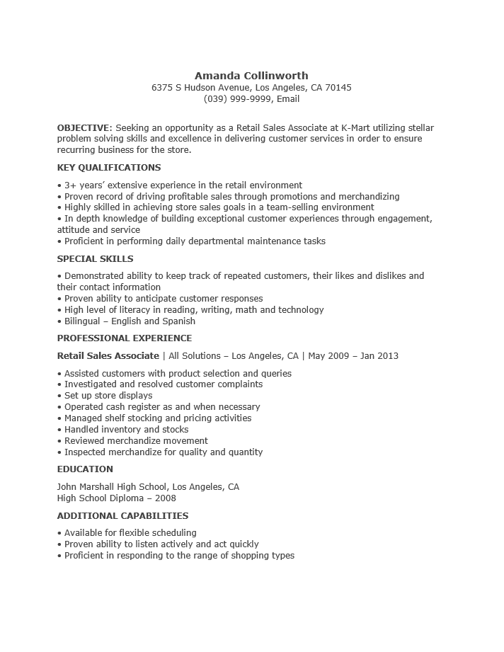Professional Sales Associate Resume Example