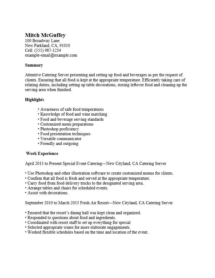Resume for cocktail server position