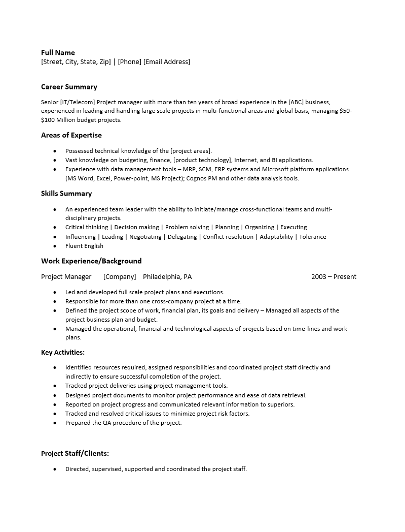 project manager resume template   resume templates
