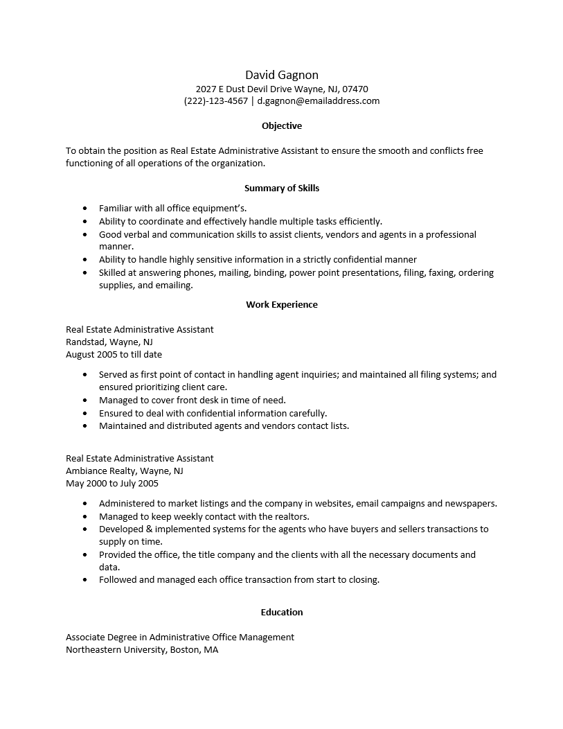 Free Real Estate Administrative Assistant Resume Template | Sample | MS Word