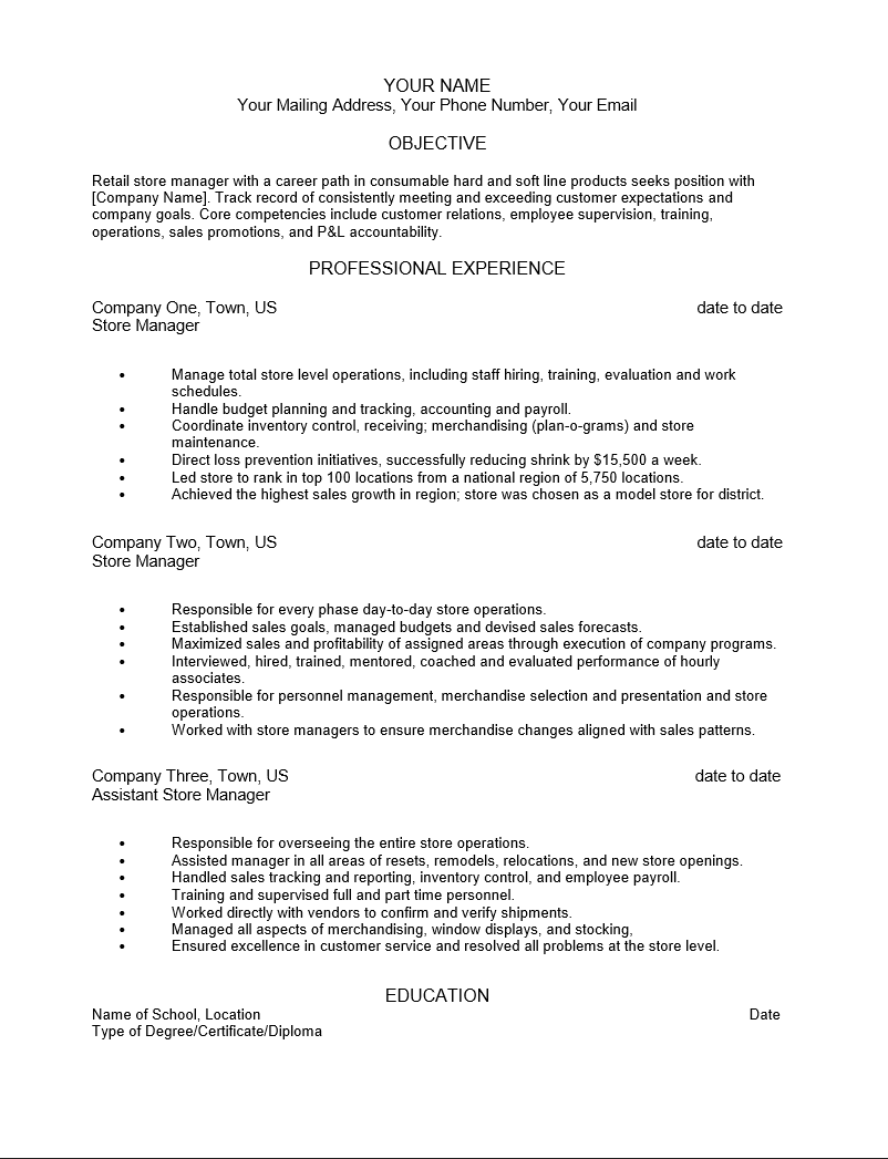 Free Retail Manager Resume Template | Sample | MS Word Adobe PDF (.pdf) | MS Word (.doc) | Rich Text