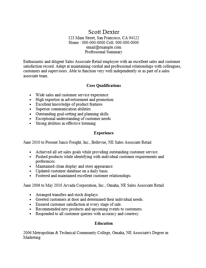 resume examples for retail sales associate