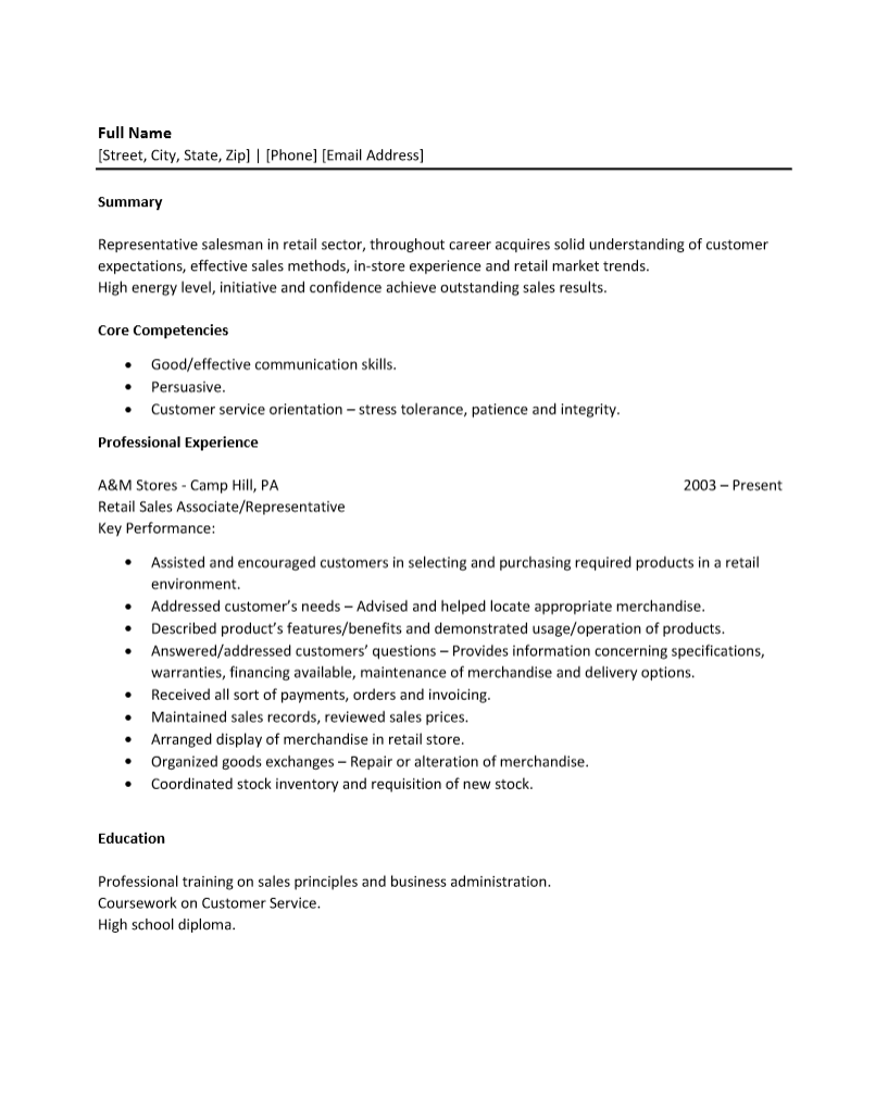 Resume Templates For Retail Retail S Resume Template Sample Ms Word