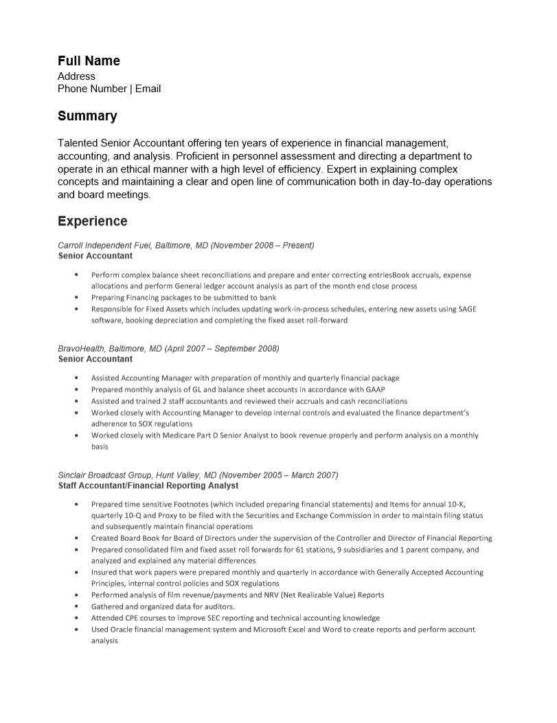 resume of management accountant