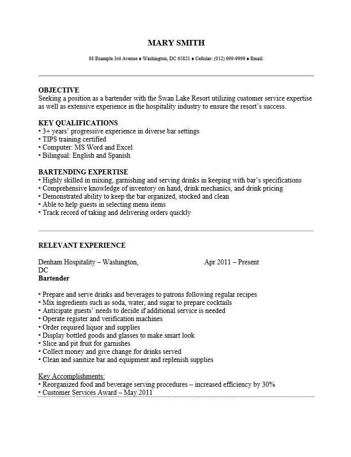 Example resume for bartender server