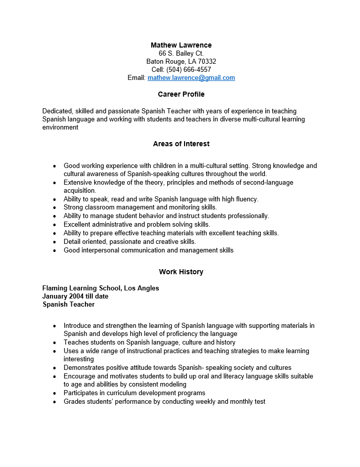 spanish teacher resume template - Free Teaching Resume Template