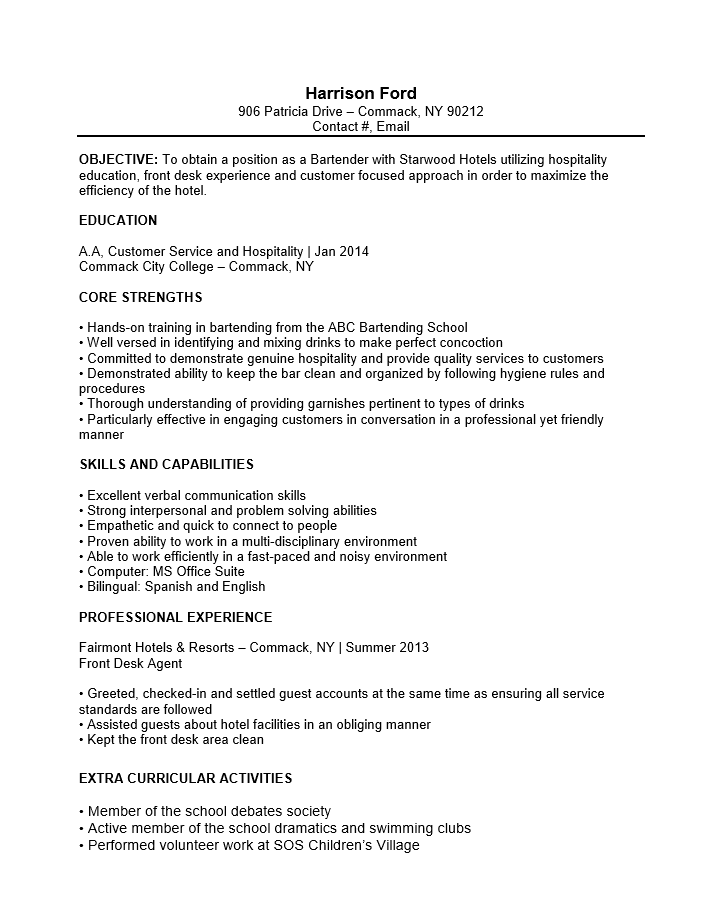 free bartender no experience entry level resume template - Extra Curricular Activities In Resume Sample