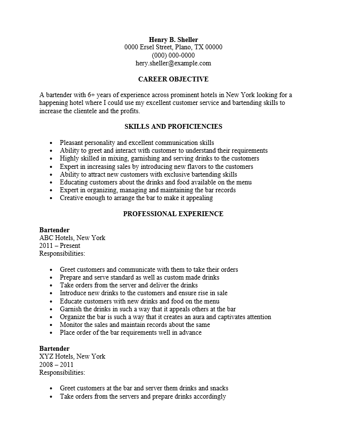Free Bartender Server Resume Template Sample – Sample Resume for Bartender Server