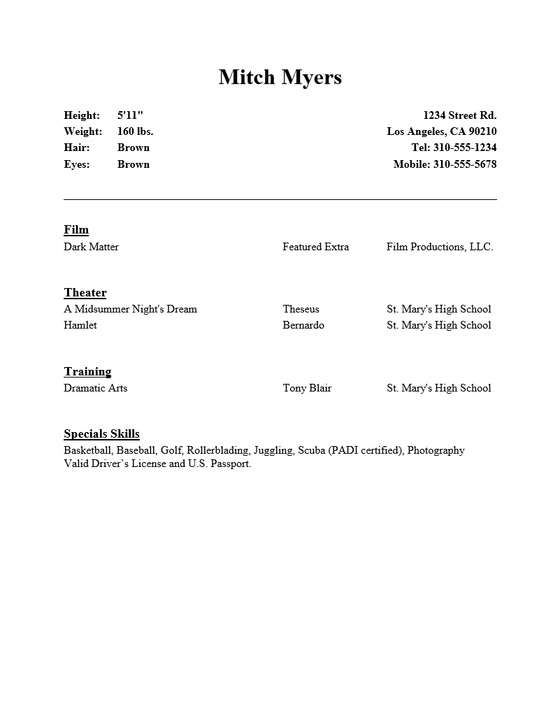 Free Acting Resume Template | Examples | MS Word