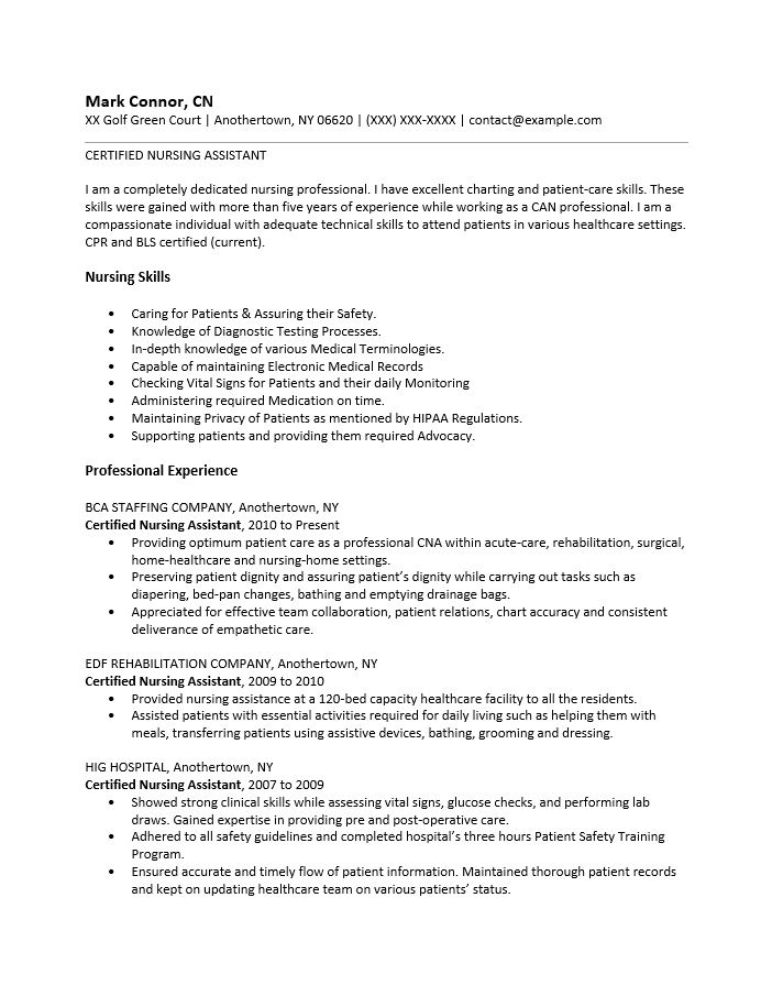 adobe pdf pdf ms word doc rich text - Sample Certified Nursing Assistant Resume