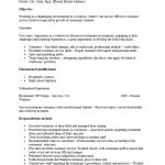 cocktail server resume template