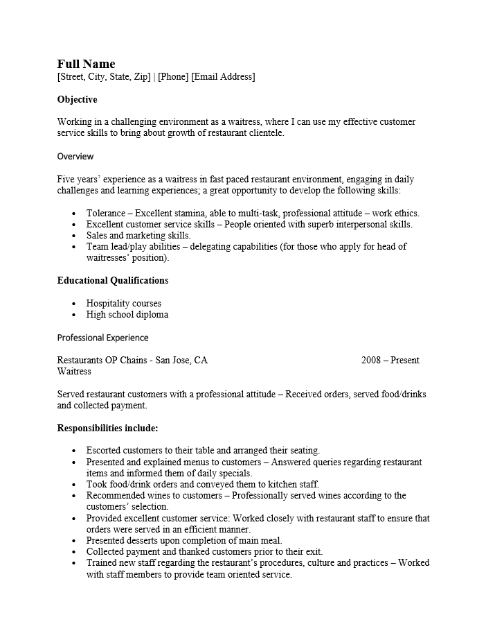 Free Cocktail Server Resume Template