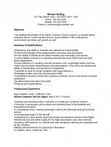 cust serv agent resume sample