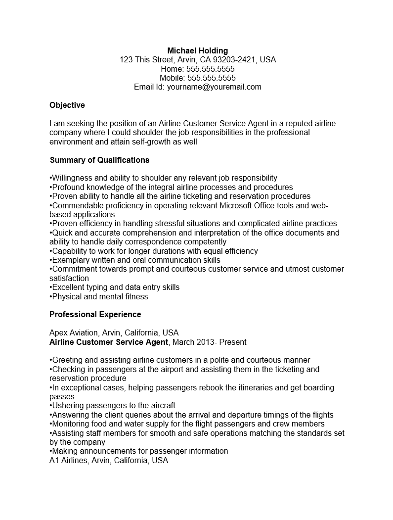 Cust Serv Agent Resume Sample
