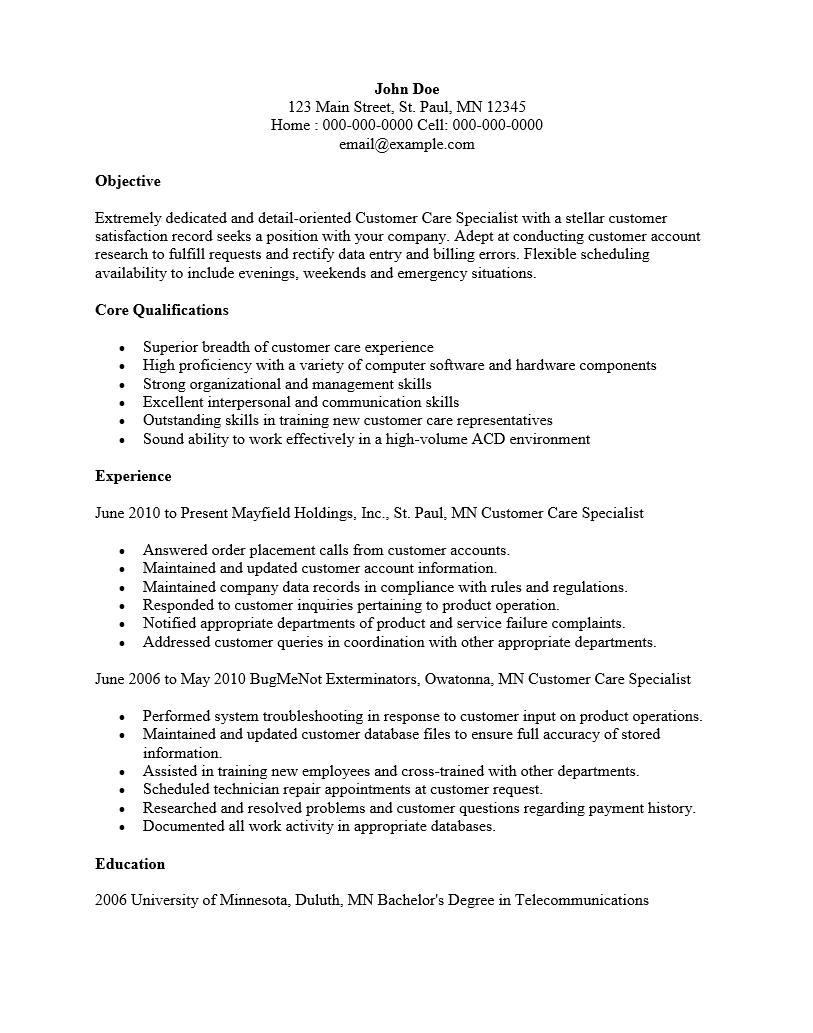 customer service specialist resume template sample ms word cust serv spec resume sample