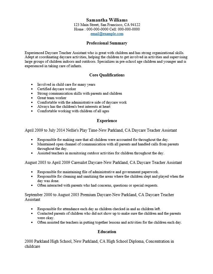 Good Adobe PDF (.pdf) | MS Word (.doc) | Rich Text  Daycare Teacher Resume