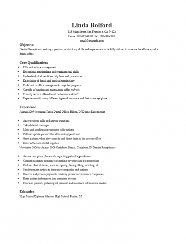free dental receptionist resume template sle ms word