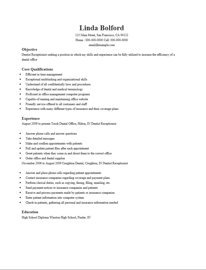 receptionist resume qualifications