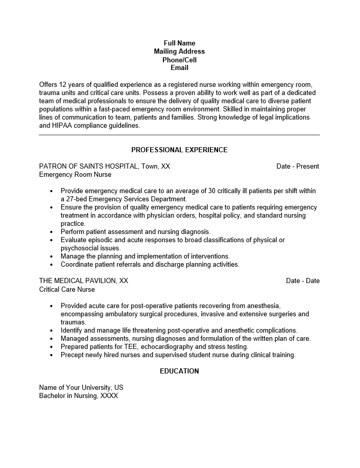 Emergency Room Nurse Job Description Resume Resume Examples