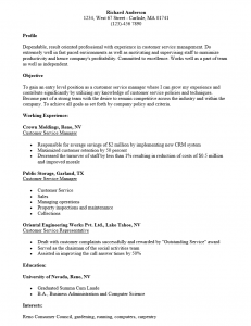 entry level customer service manager resume sample
